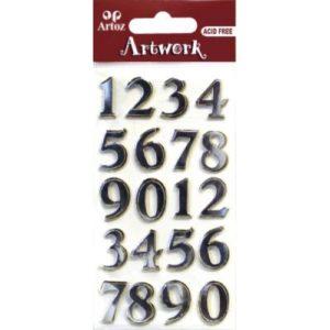 STICKER NUMEROS 0 A 9 ORO/PLATA