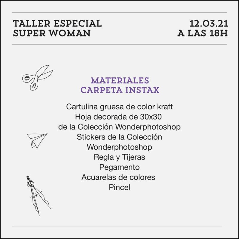 taller especial super woman materiales